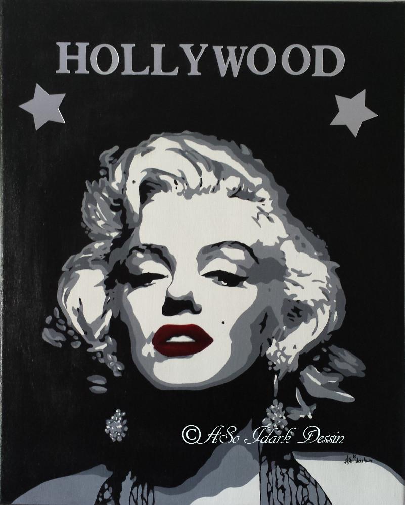 1110 toile portrait d u2019apres photo maryline monroe pop art new art noir et blanc et lettre miroir