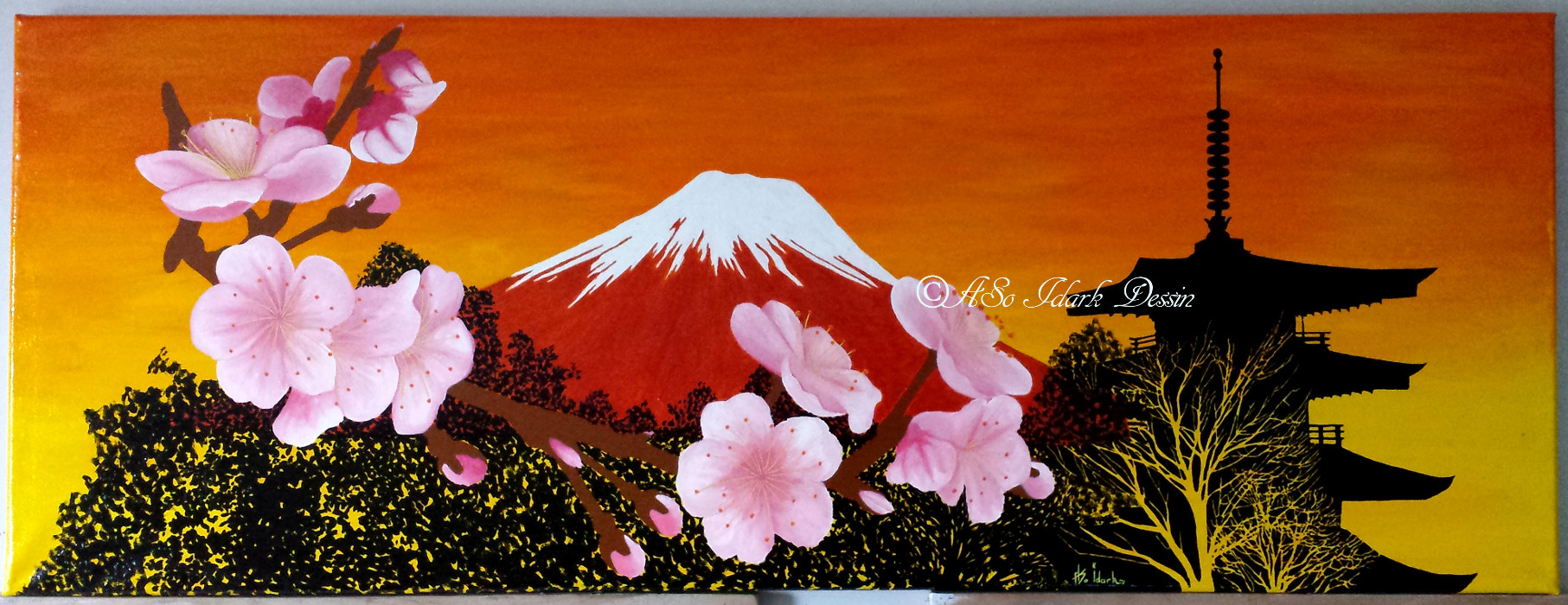 1178 Toile Paysage Style Japonnais Fleur Cerisier Temple Japonais