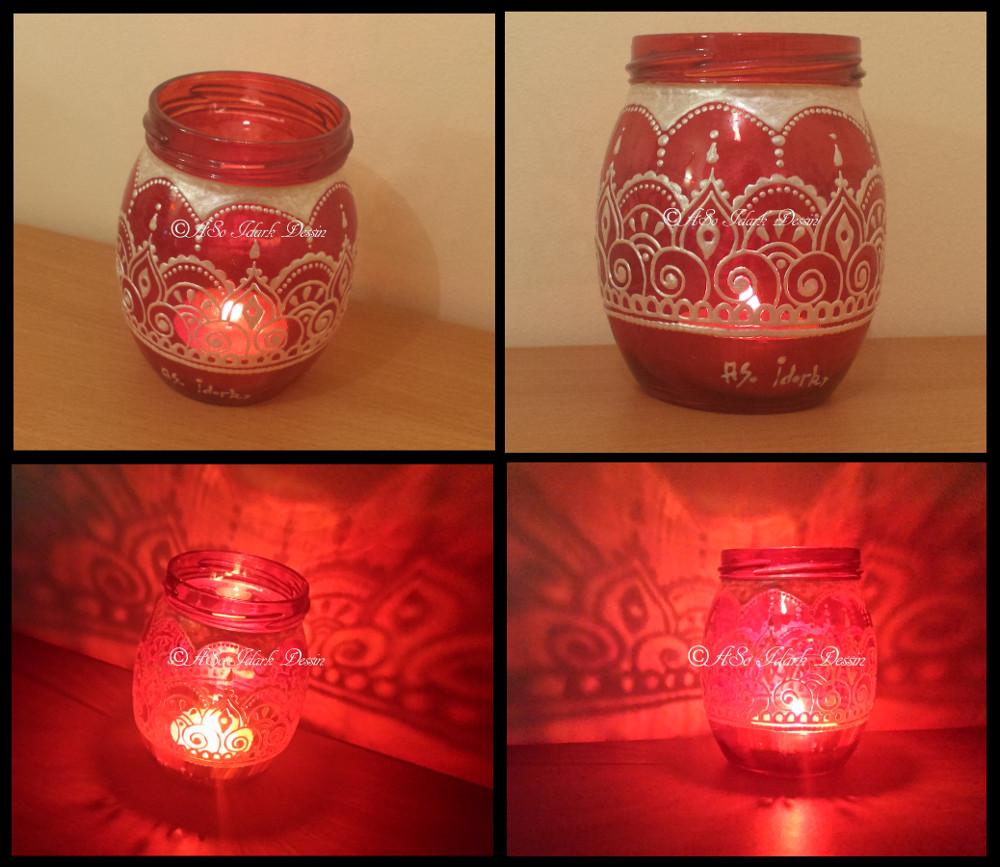 1109 photophore en verre rouge et or personnalisé peint a la main motif oriental arabesque ...