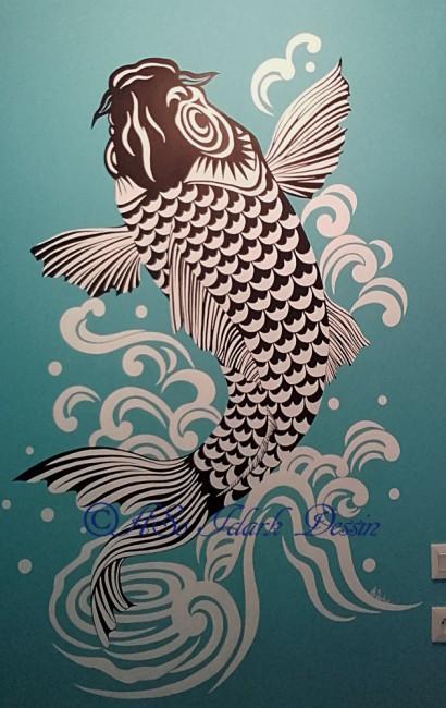 Fresque sur mur peint à l'acrylique 100x170cm