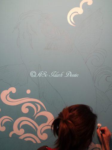1015 Fresque Sur Mur Carpe Koi Wip 3c Peinture Des Vagues En