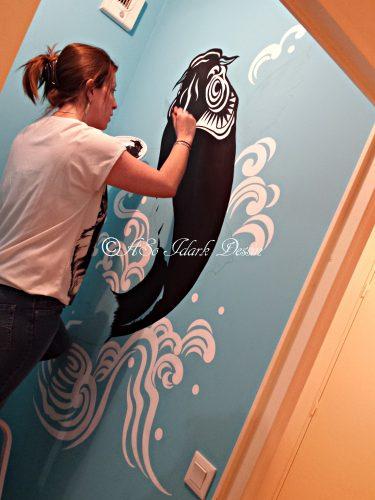 Fresque sur mur – peint à l'acrylique – 100x170cm