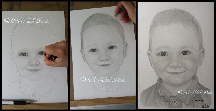 Portrait d'enfant d'après photo etape par etape DIY WIP Crayon graphite / fusain format A4 21x29.7 cm #Bapteme #Commande
