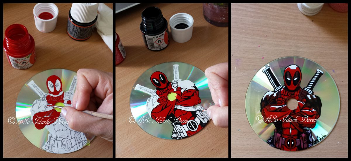 WIP Etape par etape DIY deadpool horloge cd