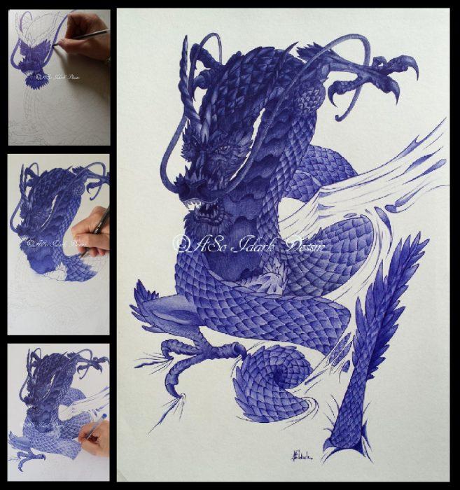 Dessin au stylo bille bic – étape par étape – Dragon