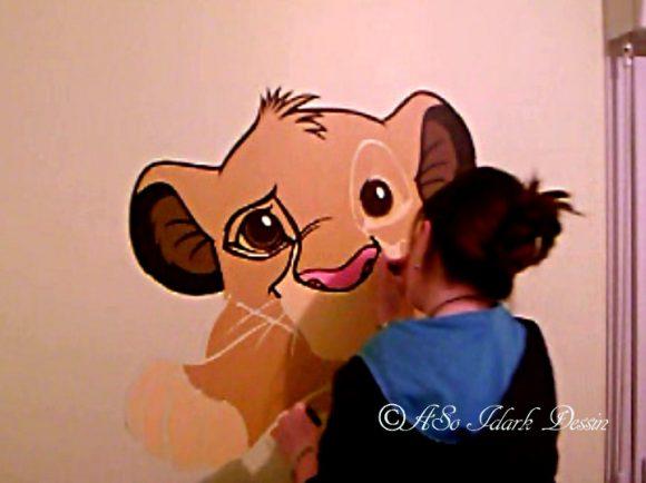 En attendant mon retour…! des petites créations personnel – fresque mural «Simba» et lettres cartons personnalisées à thème pour prénom