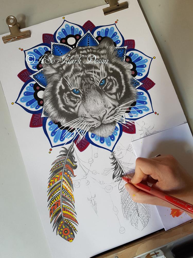 Dessin Tigre dreamcatcher, portrait d'après photos et boites coffrets en bois