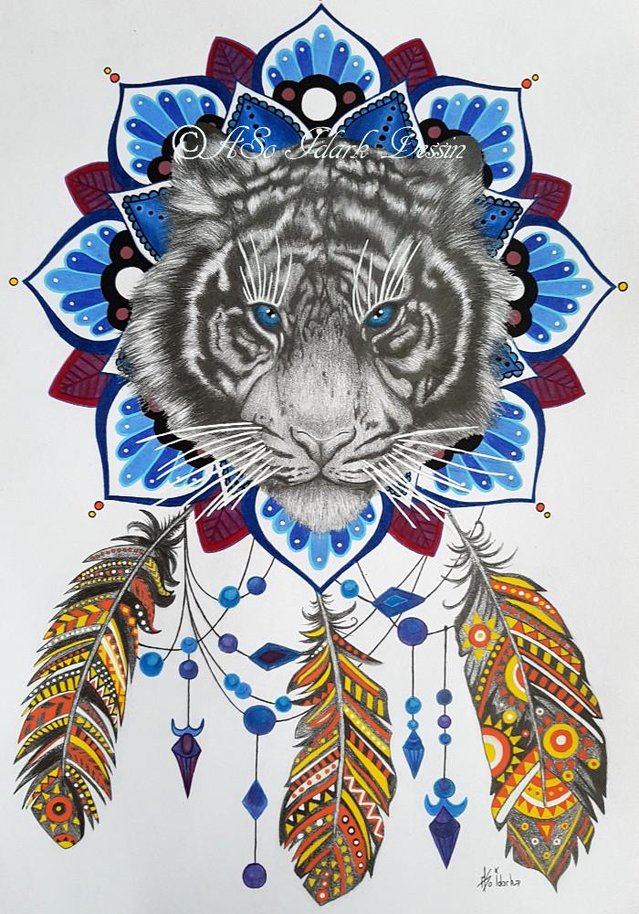 1348 tigre dreamcatcher attrape r ve dessin graphite et. Black Bedroom Furniture Sets. Home Design Ideas